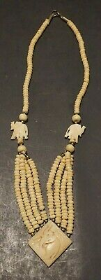 Vintage Carved Bone Necklace Tulip and Clover Heart Shaped Pendant Necklace Handmade Bone Screw Barrel Clasps Ivory Tone