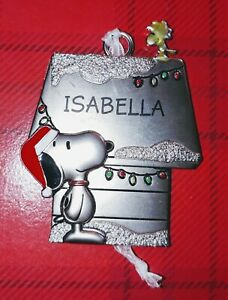 Snoopy-and-Woodstock-Hallmark-Pewter-Ornament-Personalized-Peanuts-ISABELLA-New