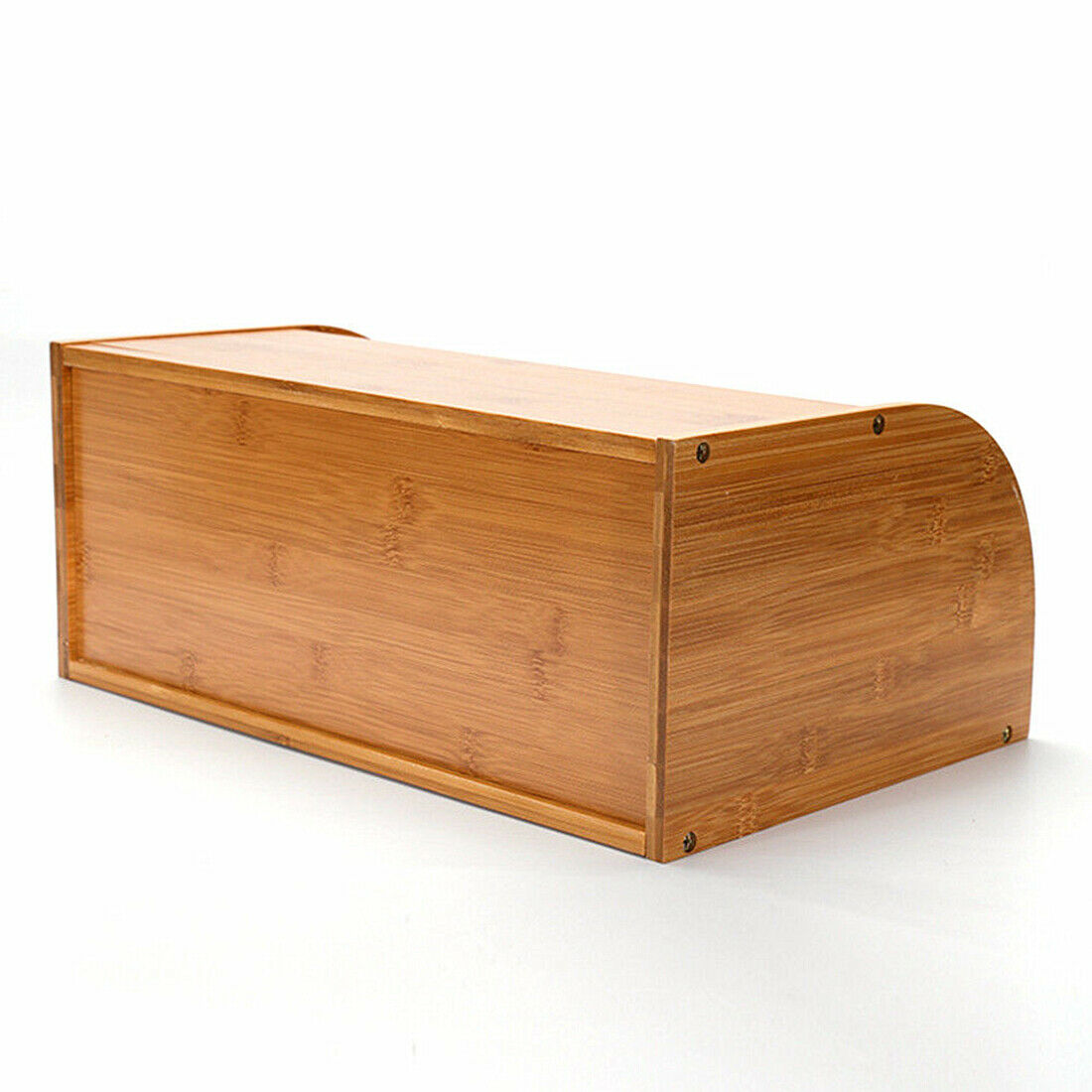 Roll Top Bamboo Wood Bread Box Loaf Container Kitchen Food Storage Bin Large US 8