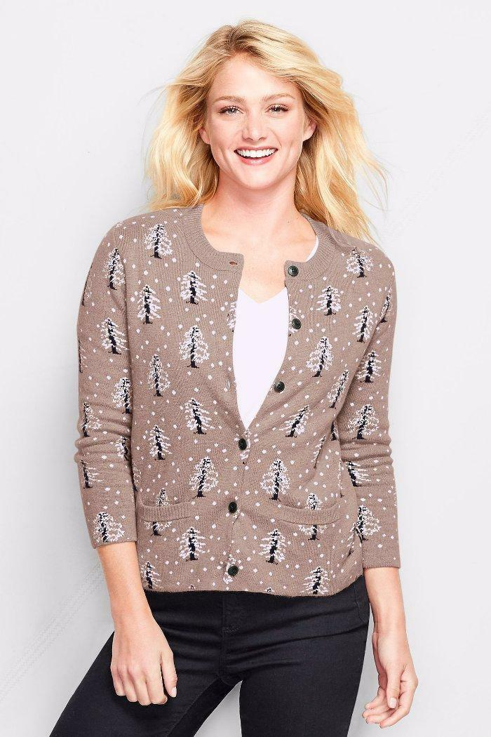 LANDS' END S(6-8) Heather Jacquard Cotton Cashmere Cardigan Sweater NWT NWT NWT  89 854058