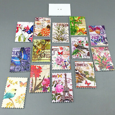 Stamp Wooden Buttons Flowers Butterflies bird Tower Sewing Scrapbooking 40mm