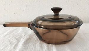 Vtg Vision Corning Glass Cookware .5 L Sauce Pan & Pyrex Lid Amber Brown USA