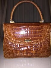 Gucci Brown Kelly bag marrone in crocodile leather pelle di coccodrillo