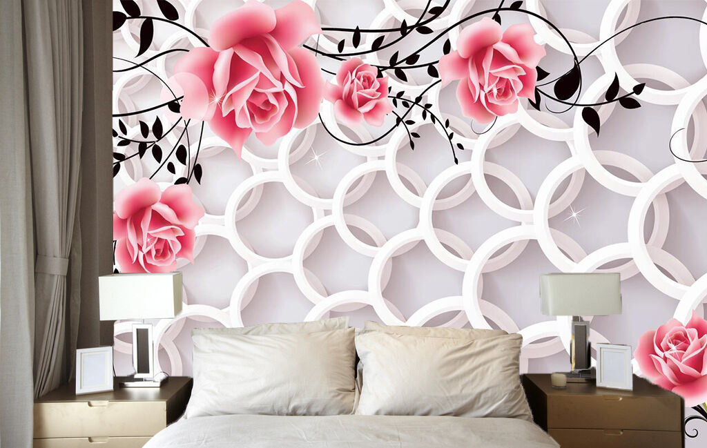 3D Simple Pink Flower Ring 468 Wall Paper Wall Print Decal Wall AJ WALLPAPER CA