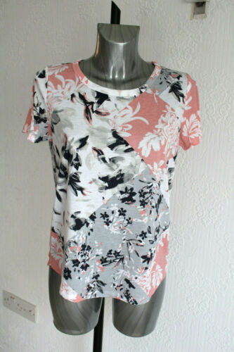 Ladies M/&S Size 12 Soft Poly Viscose Short Sleeve Floral Top T Shirt New