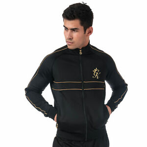 Mens-Gym-King-Piped-Poly-Funnel-Neck-Top-In-Black-Gold