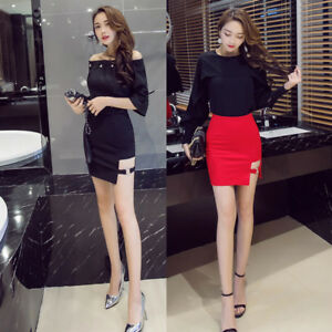 38f38690ca Details about Lady Metal Ring Cut Out Side Stretch Mini Sexy Skirt High  Waist Gothic Punk Slim