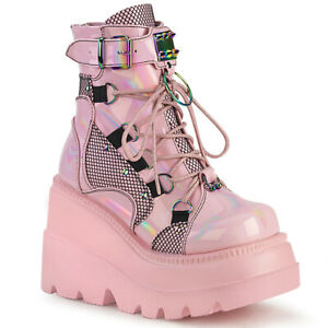 "Demonia SHAKER-60 Baby Pink Hologram 4 1/2"" Wedge Platform Lace-Up Ankle Boot"