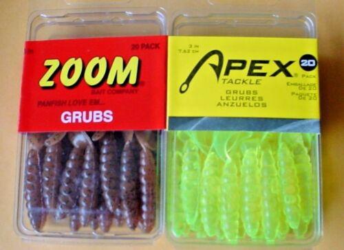 """2 PACKS 1 EACH 3/"""" Zoom PUMPKIN /& APEX CHARTREUSE Grubs 20//PACK 40 Total"""