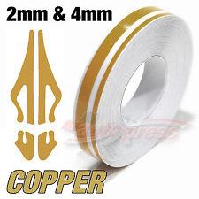 """12mm 1/2"""" Doppel Zierstreifen Pin-Stripe AUFKLEBER Dekorstreifen KUPFER GOLD"""