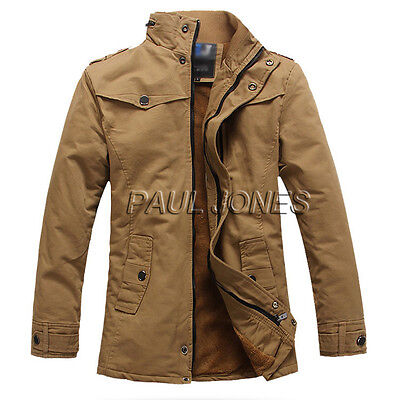 WINTER WARM Men Thicken Milltary Jackets Trench Coat Windbreaker Overcoat Parka