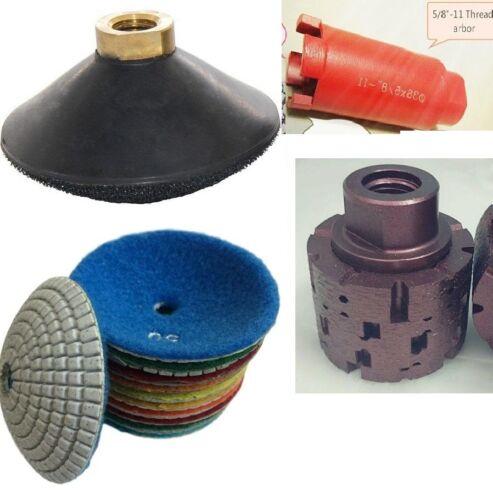 "4/"" Diamond bowl-shaped convex polishing pad 2/"" grinding drum core bit stone"