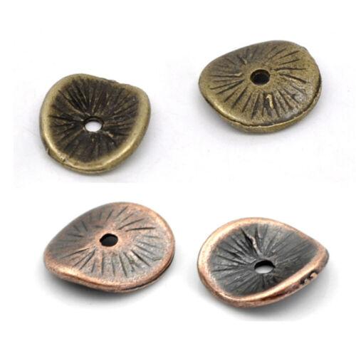 Zinc Based Alloy Wavy Spacer Beads Disc Antique Bronze Antique Copper 10mm x 9mm