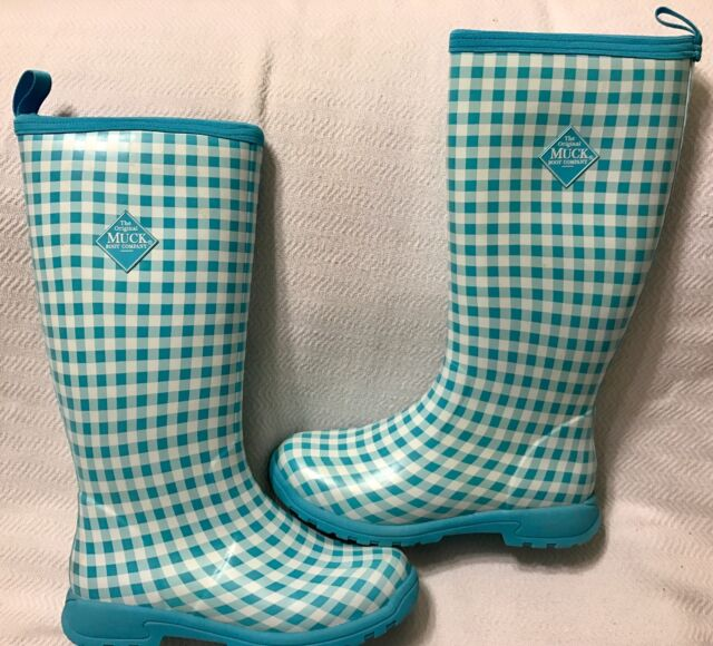 29735468b18 Gingham Boots Breezy Blue Women s Boot Insulated Tall Rain Muck Buy 4qzS6