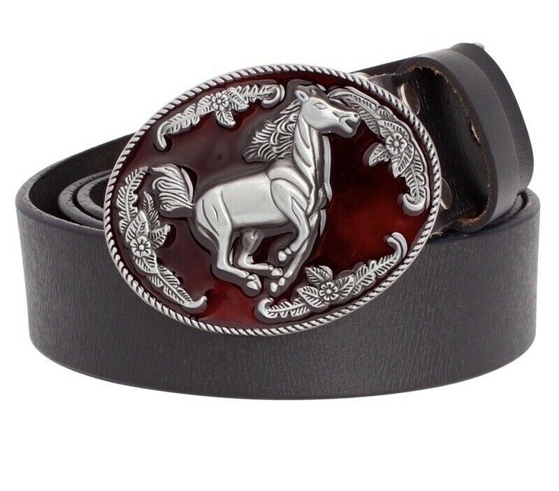 Mens Cowboy Horse Riding Western Punk Rock Leather Belt And Buckle