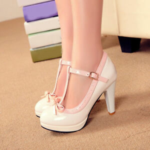 ec252754e66 Womens Mary Jane T-Strap Pumps Bow Knot High Heels Patent Leather ...
