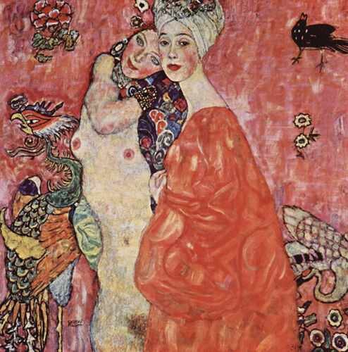 Gustav Klimt Orange Dress Vintage Fine Art Print