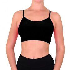 Seamless Cami Bra Crop Top Spaghetti Straps Tank Camisole Sports Yoga Gym Black