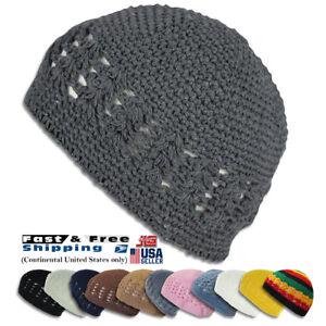 KUFI Crochet Beanie Unisex Cotton Skull Cap Knit Hat Man Women 3121468de94a
