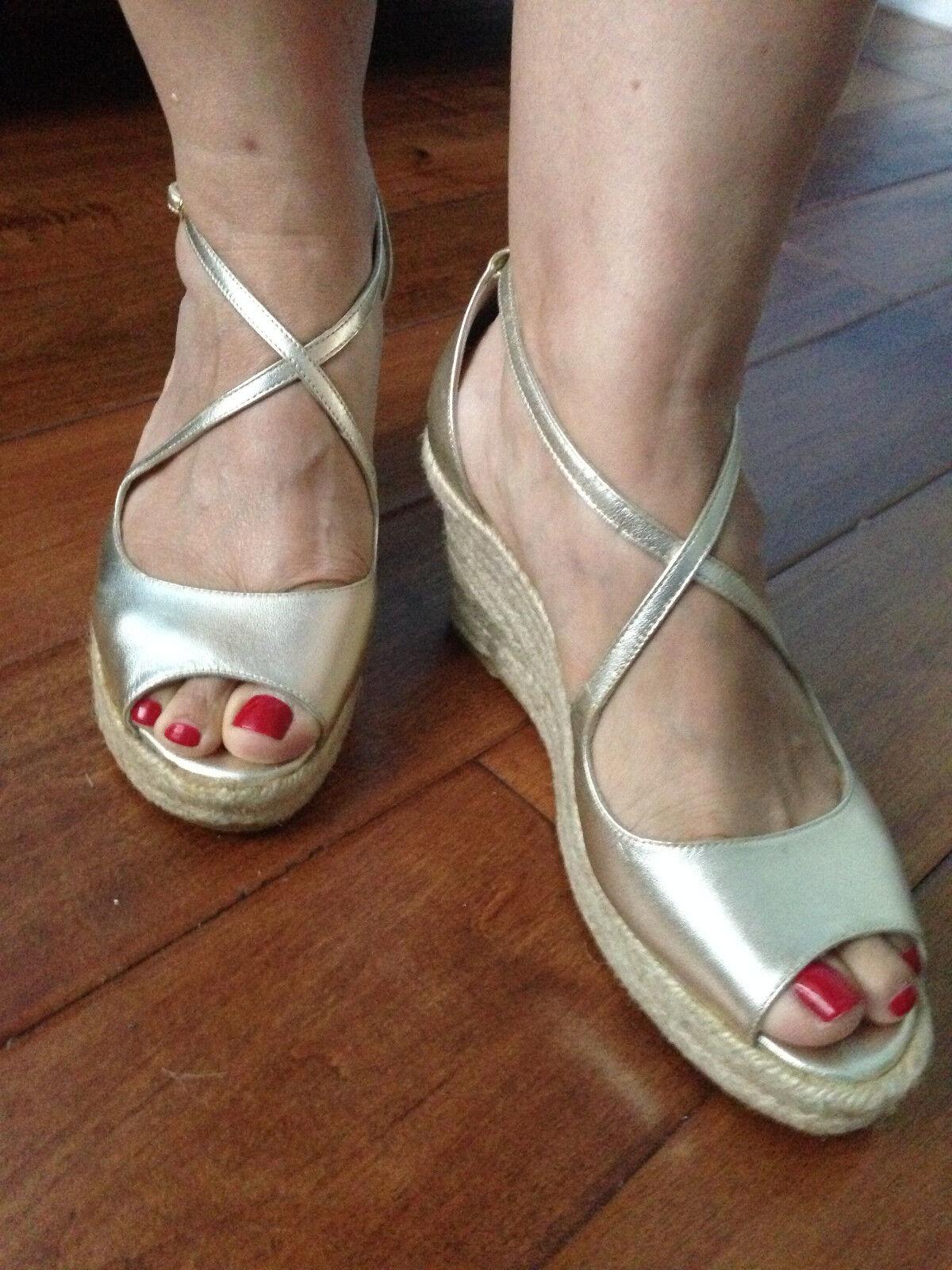 $350 New BUTTER Nappa Golden Leder Platform Espadrilles Schuhes sz 9.