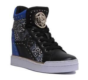 Femme Wedge Bleu Uk Guess Baskets Sneaker Finer Cuir Taille 8 Noir 3 wpHxqf