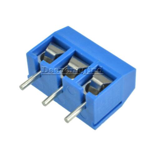 5//10//30//50//100PCS 3 Pin Screw Terminal Block Connector 5.08mm Pitch KF-301-3P