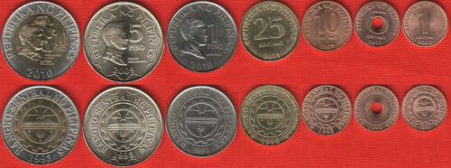 Philippines set of 7 coins 1 sentimo 10 piso 2002-2011 UNC