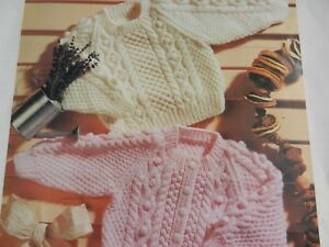 Knitting Pattern Girl Boy Aran Cable Cardigan And Sweater 16 22