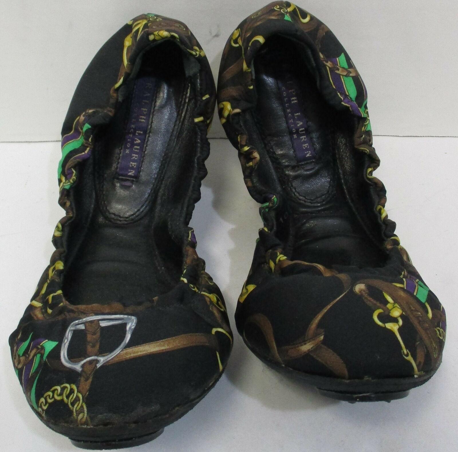 RALPH LAUREN COLLECTION fabric saddle buckle print ballet flat shoe sz 9 fit 8.5