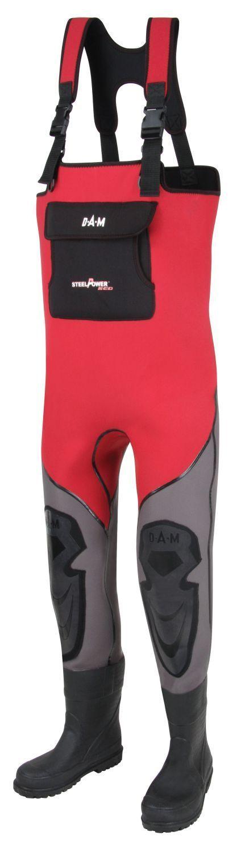 DAM STEELPOWER RED Baildon neoprene pants Size 38 39 Rubber sole Waders