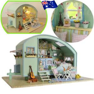 DIY Wooden Toy Doll House Miniature Kit Caravan Dollhouse Music Box Xmas Gift