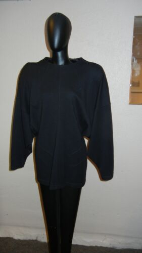 1980s BLACK WOOL BLEND TOP