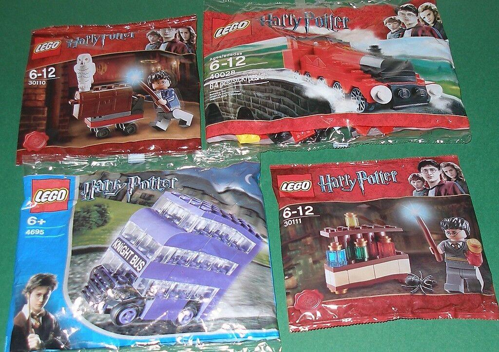 4x Lego Harry Potter  Hogwarts Express  Knight Bus und Harry Potter mit Zubehör