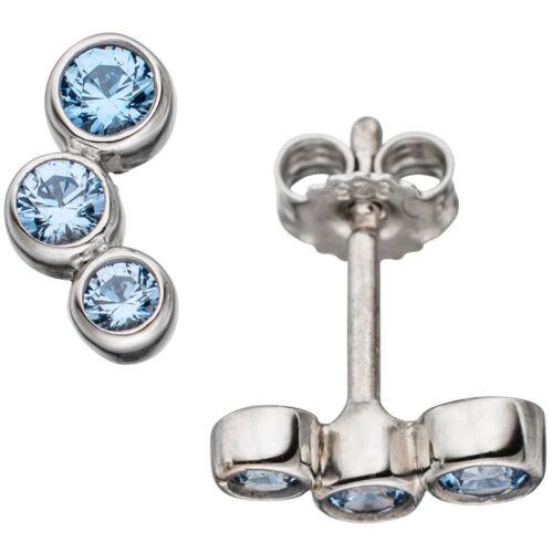 Pendientes 925 Sterling plata rhodiniert 6 spinelle azul claro azul aretes
