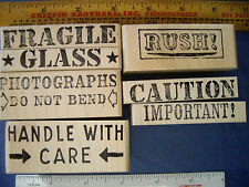 7 Rubber Stamps Office Business Post Fragile Photographs Glass Do Not Bend