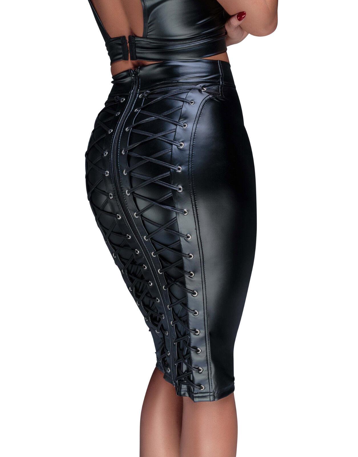 Sexy Wetlook Jupe schwarz dominarock Lacets Plus Größe Grande Größe S à 3 XL