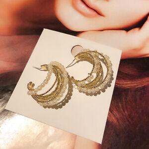 Fashion-Women-Big-Circle-Beads-Drop-Dangle-Ear-Stud-Earring-Wedding-Jewelry-Gift