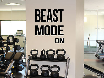 Motivational Quotes Beast Mode On Wall Decal Gym Fitness Sport Vinyl  Sticker 25 | eBay