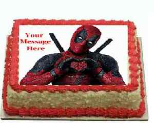 Deadpool Cake topper edible image icing REAL FONDANT birthday party