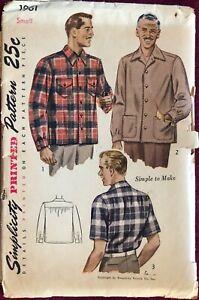 Vintage 1940's Simplicity Pattern 1961 Men's Shirt Size Small 14 / 14-1/2