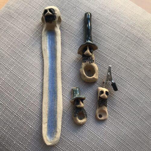 Roach Clip UNIQUE GIFT Incense Burner HANDMADE BUNDLE 2 Smoking Pipes