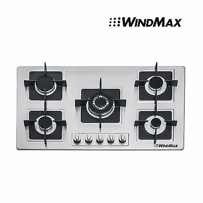 "Brand 35.5"" Stainless Steel Built-in 5 Burner Stove Gas Hob Cooktop Cooker Top"