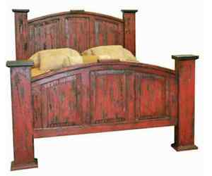Queen Mansion Red Scraped Bed Solid Read Wood Distressed Shabby Chic Rustic