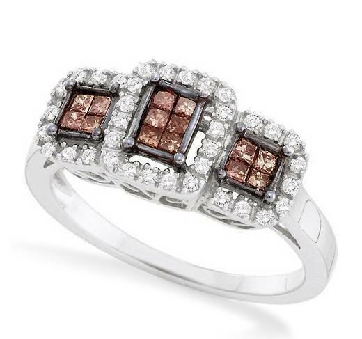 14K White gold Chocolate Brown Diamond Ring Trio Cluster Invisible Set .37ct