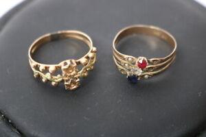 2 x Antike 585.Altgold Ringe für Damen um 1900