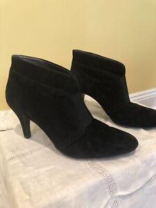 black suede booties high heel