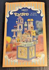 1988 NIB Enesco Toyland Action Musical Music Box Baby Nursery BRAHMS LULLABY