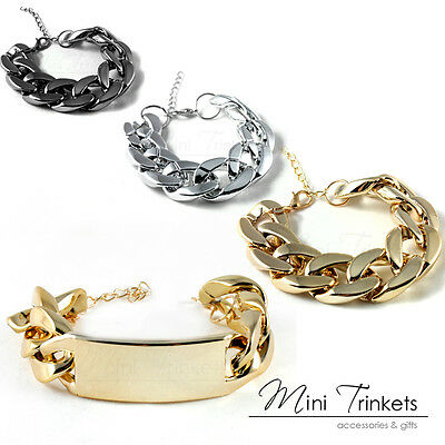 Womens Celebrity Gold Silver Chunky Curb Chain Charm Bracelet Gift Present