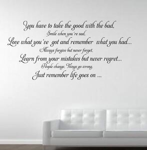 Life Goes On Wall Quote Sticker Decal Wall Decals Stickers Ebay