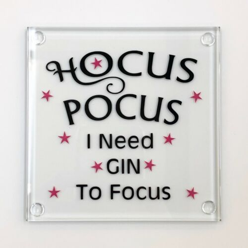 Hocus Pocus I need GIN to Focus Handmade Glass Coaster